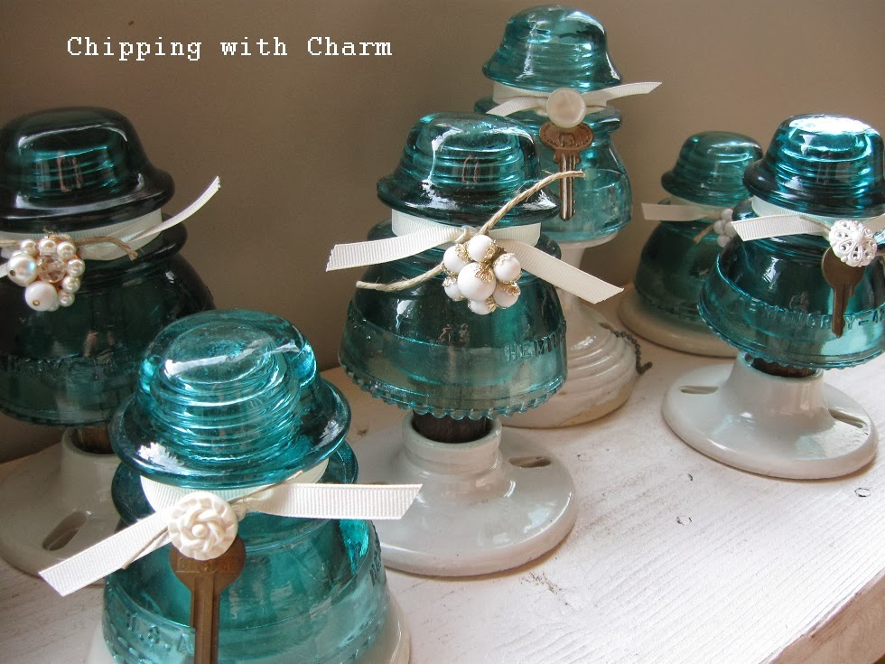 Chipping With Charm: Aqua Glass Insulator Trees...more