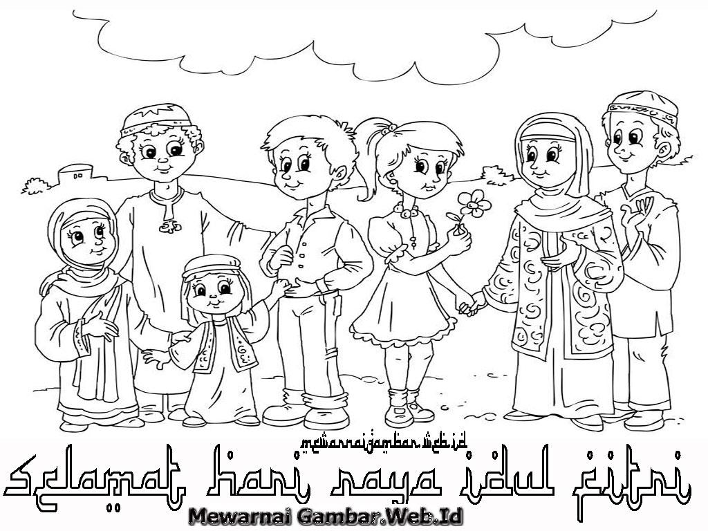 sketsa mewarnai islami   Dunia Putra Putri
