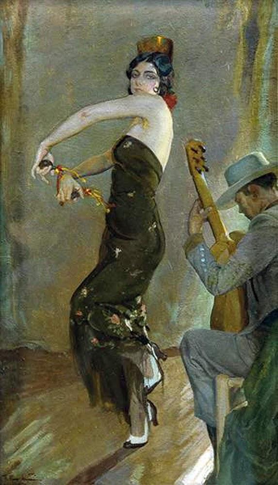 Bailaora y Guitarrista, Francisco Pons Arnau, Pintor español, Pintor Valenciano, Pintura Valenciana, Impresionismo Valenciano