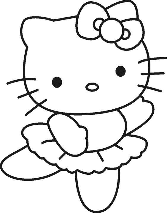 Tranh tô màu mèo hello kitty múa ba lê