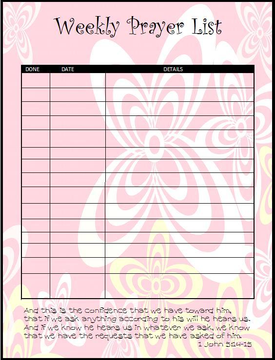 prayer list template - attendees list template