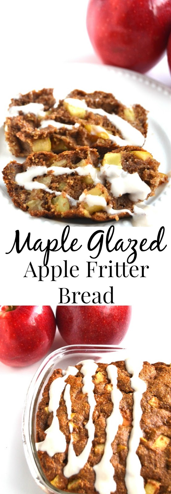 Maple Glazed Apple Fritter Bread tastes like your favorite doughnut but is healthier made with whole-wheat, fresh apples and a protein-rich maple drizzle! www.nutritionistreviews.com