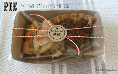 Pie Take Home Container with name tag, featured at Funtastic Friday!