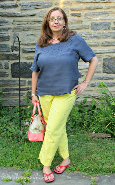 Pairing Chambray and Yellow Pieces with Coral Accessories for a Stylish Color Block Outfit