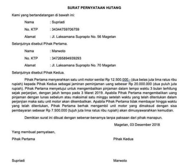 contoh surat pernyataan pinjaman uang