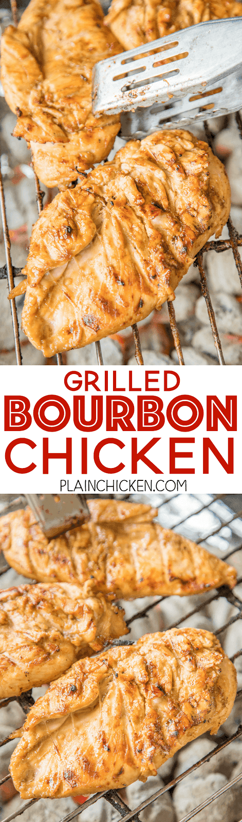 Grilled Bourbon Chicken - seriously delicious!!! Let the chicken marinate a few hours or overnight for maximum flavor. We ate this chicken two days in a row!! Can't wait to make it again this weekend!!! SO tender, juicy and packed full of AMAZING flavor!! Chicken, dijon mustard, red wine vinegar, Worcestershire, bourbon, brown sugar, garlic. THE BEST grilled chicken breast recipe!