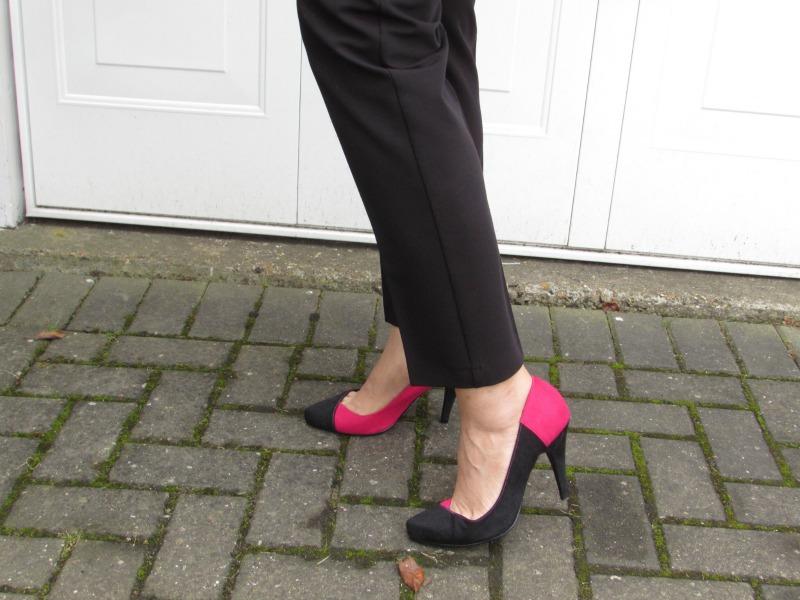 Pink and black heels