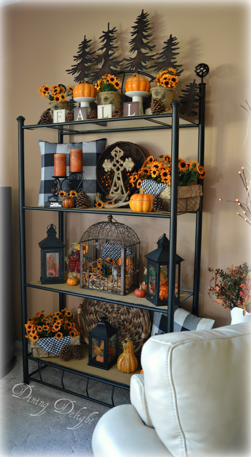 dining delight fall decor on the etagere. Black Bedroom Furniture Sets. Home Design Ideas