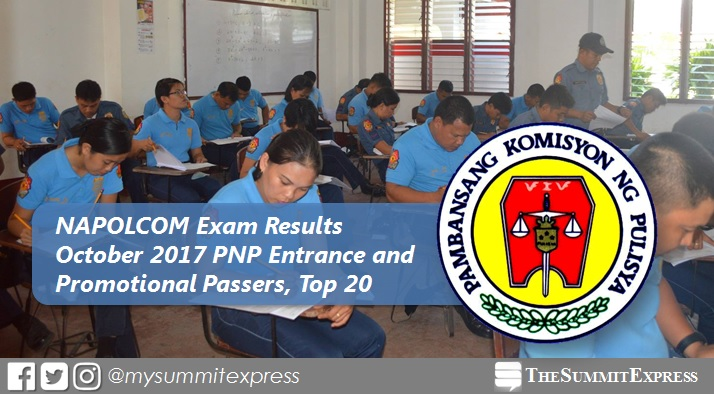 FULL RESULTS: October 2017 NAPOLCOM exam list of passers, top 20