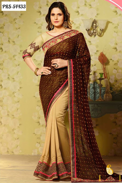 Coffee color bollywood heroine actress zarine khan saree online collection with discount offer sale ion lowest prices