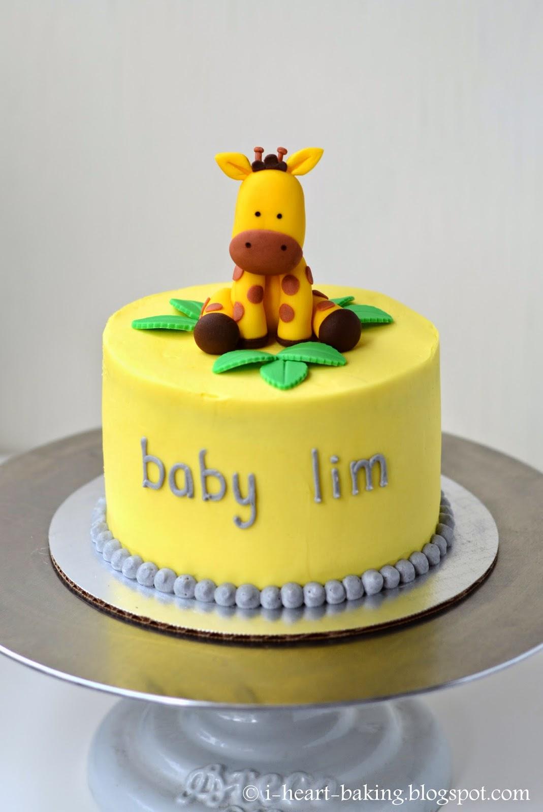 heart baking giraffe baby shower cake