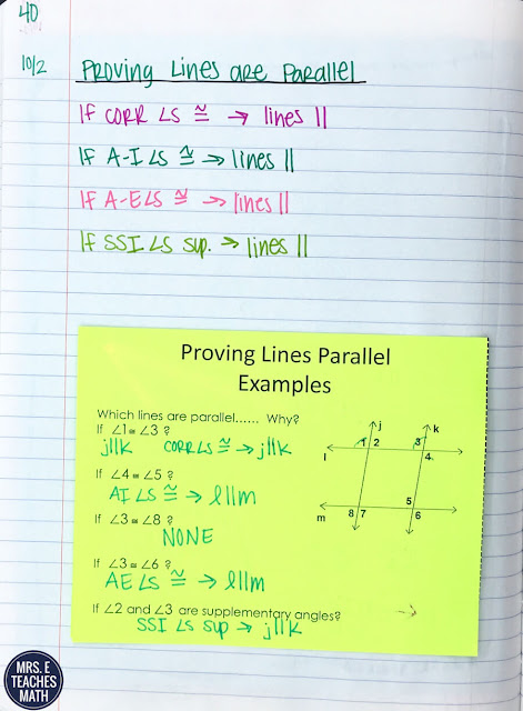 These interactive notebook pages for parallel lines in geometry were so helpful for my student's notes. We put the foldables in their INBs and worked on activities afterwards. They didn't struggle with the equations of parallel and perpendicular lines because it was review from algebra.