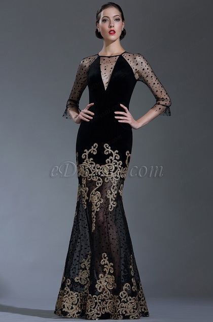 edressit black sequin lace formal evening gown with sleeves