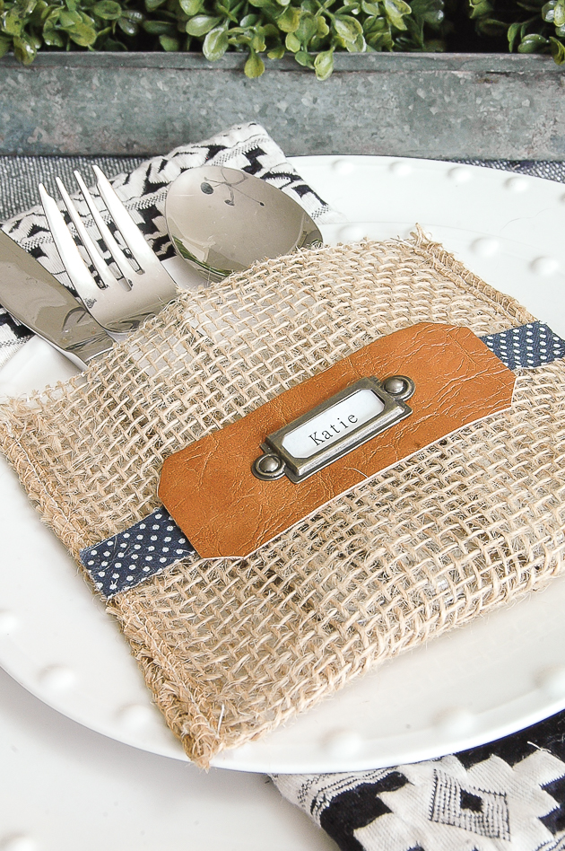 burlap utensil holder place cards