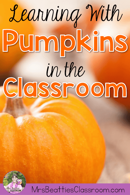 "Photo of pumpkins with text, ""Learning With Pumpkins in the Classroom."""