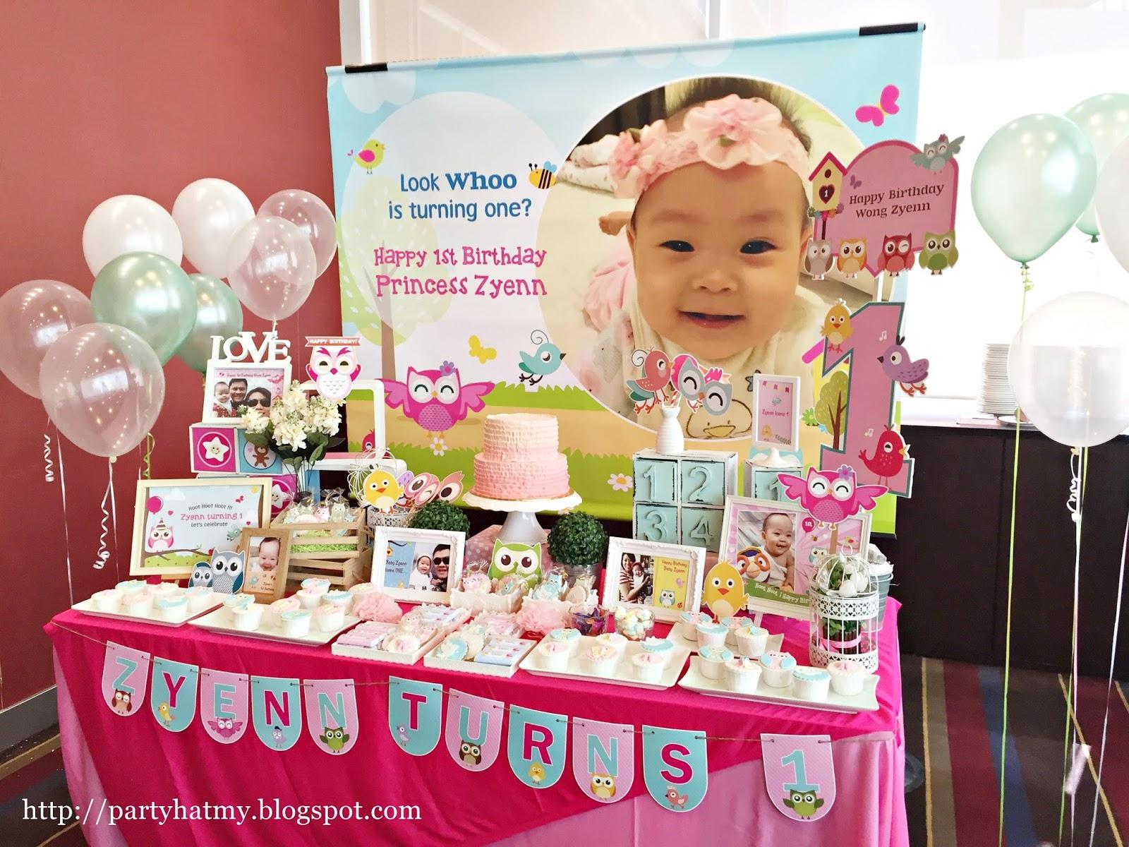 Party Hat Princess Zyenn 1 Year Old Owl Birthday
