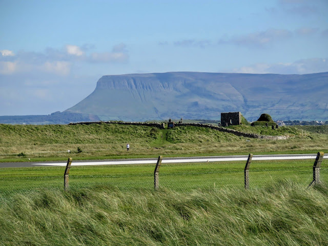 Benbulben viewed beyond the airport landing strip in Sligo, Ireland
