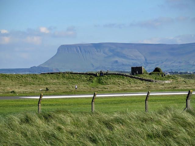 Benbulben viewed beyond the airport landing strip in Sligo, Ireland