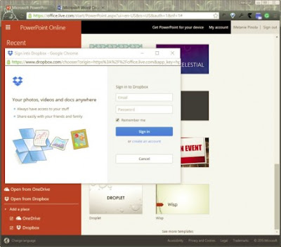 Setelah Anda terhubung, Anda dapat mengklik Open from Dropbox dari link Dropbox untuk membuka file Office atau menyimpan file ke Dropbox dari Office Online.