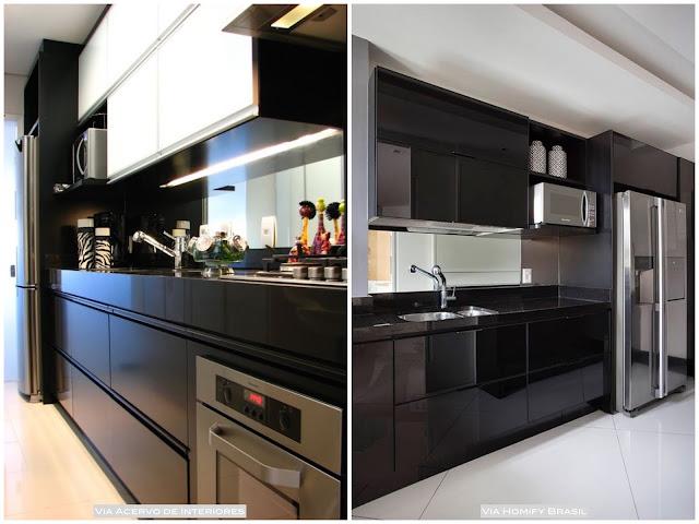 cozinha com armários pretos