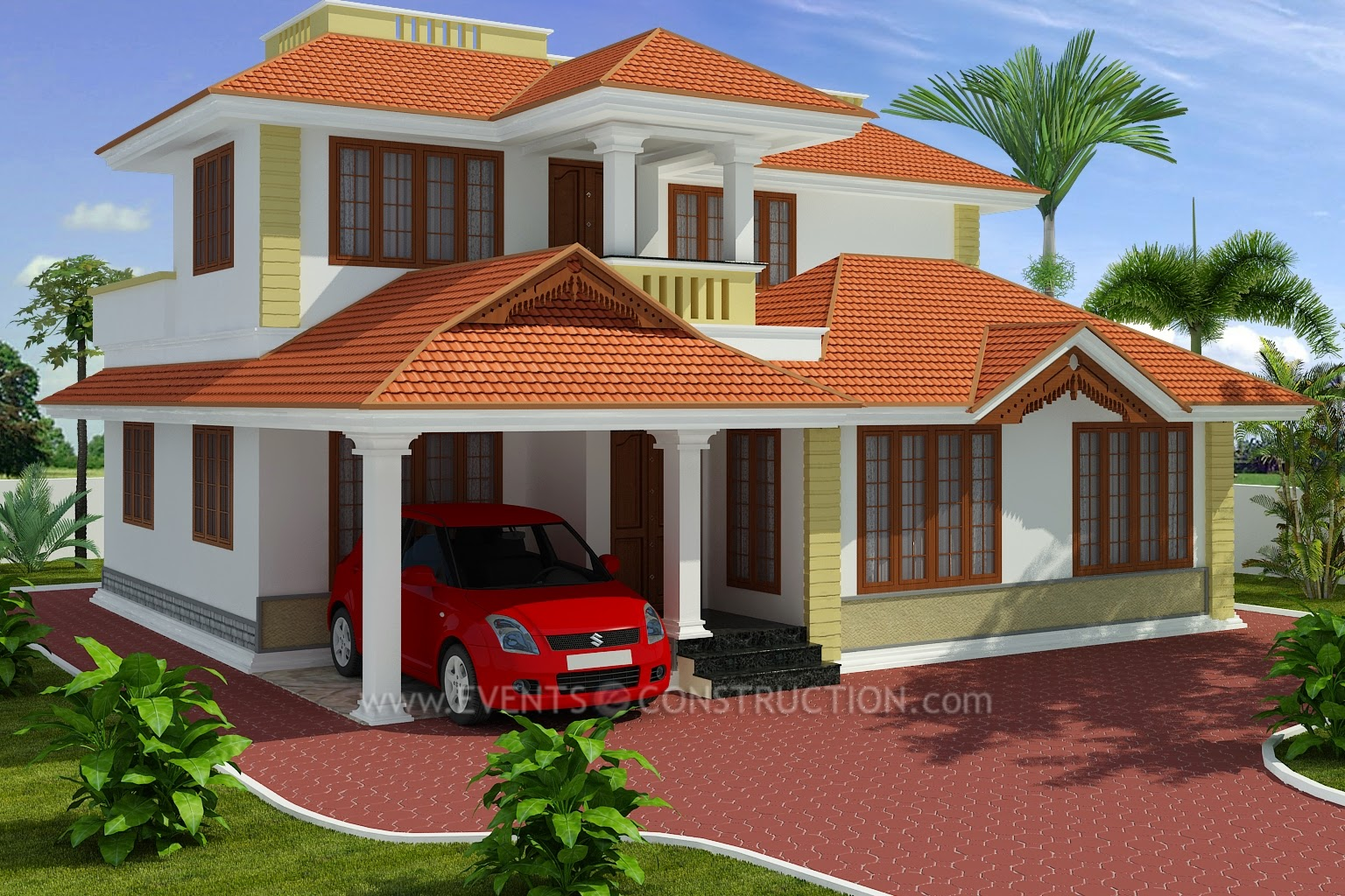 Evens Construction Pvt Ltd 2401 Square Feet Nice House 3d