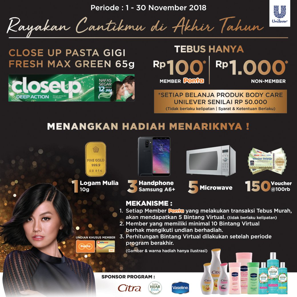 Alfamidi - Promo Tebus Murah & Undian Akhir Tahun Beli Body Care Unilever (s.d 30 Nov 2018)