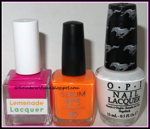 Lemonade Lacquer: Going Bananas; Serum No. 5: Orange You Sunny; OPI: Angel with a Leadfoot