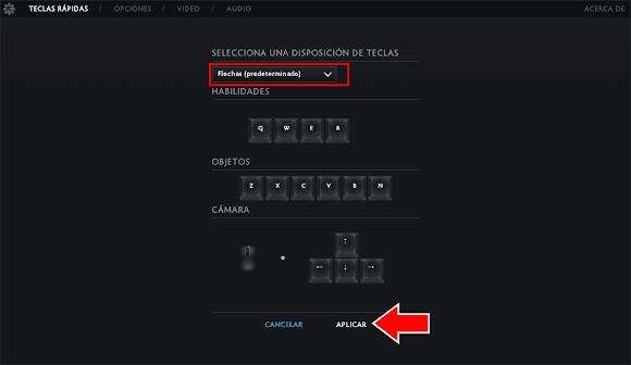 restablecer teclado dota 2