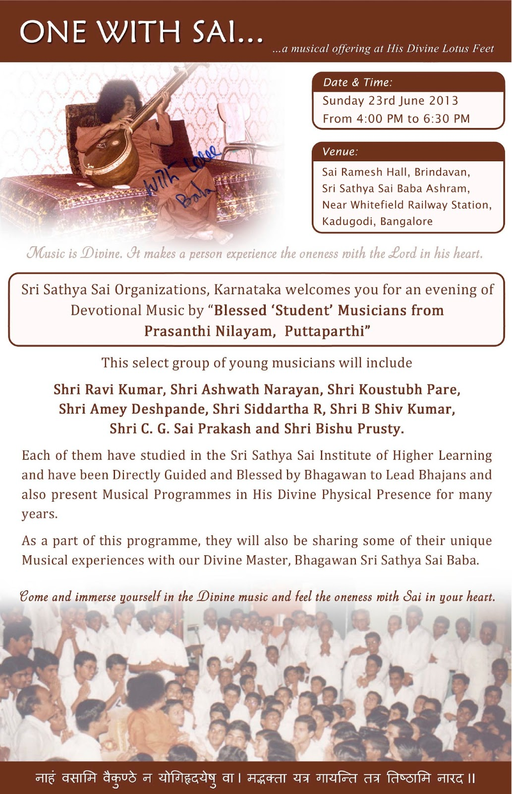 Live SSpiritually: Prashanthi Manidr Bhajans at Brindavan, Bangalore