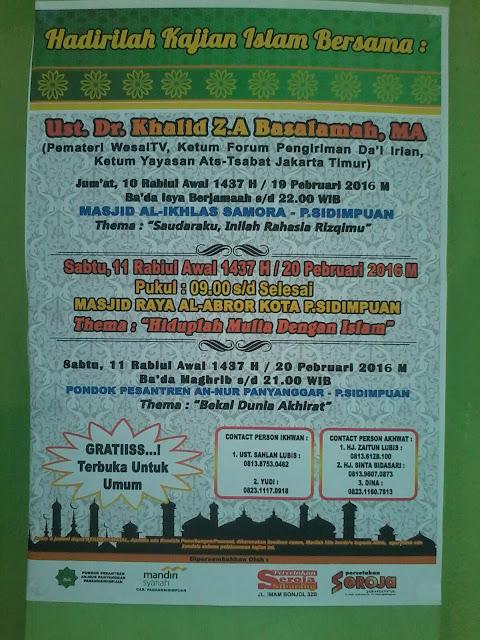 hadiri kajian islam ust DR khalid basalamah MA di sidimpuan, bantu share