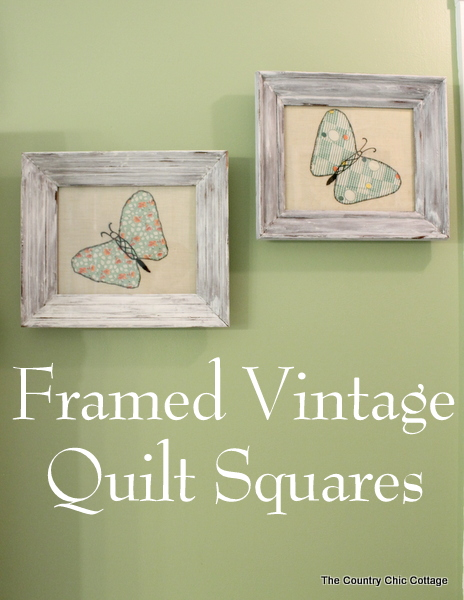 Frame vintage quilt squares as art in your home.