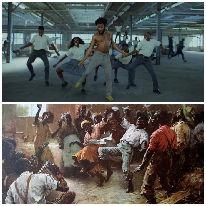Childish Gambino's This is America - Easter egg - The CakeWalk    Those weird dance moves and facial expressions are not random either. Back in the time when African Americans were slaves, they used to mock the dignified mannerisms of the upper class white people by exaggerating their versions of dance.