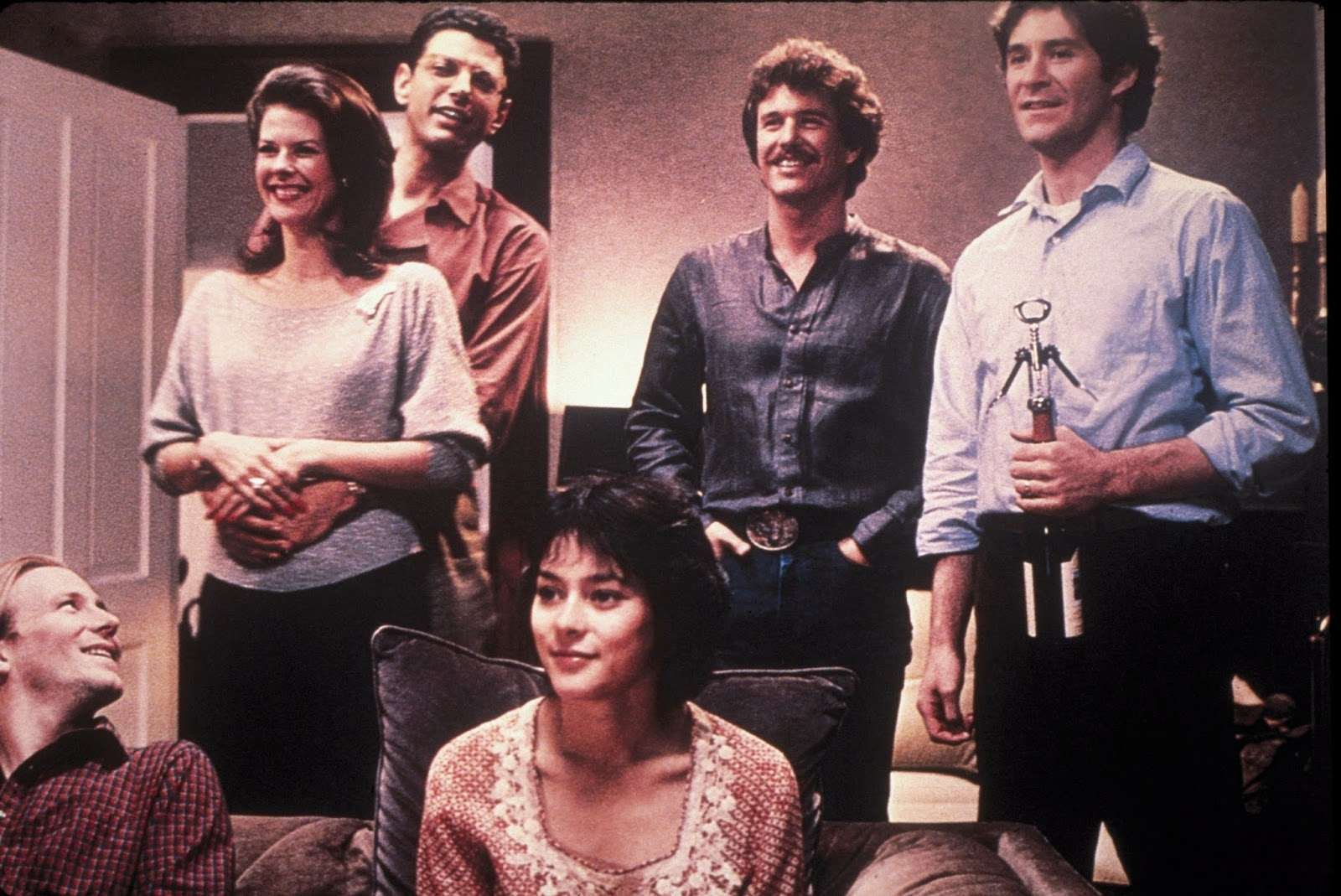 Six characters from the film The Big Chill in a group shot