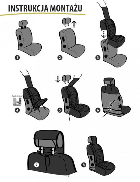 Instrukcja montażu nakładki na fotel samochodowy