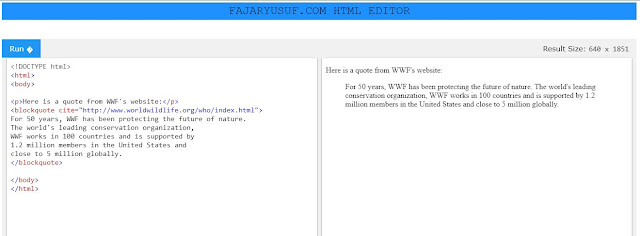HTML Quotation dan Citation Elements