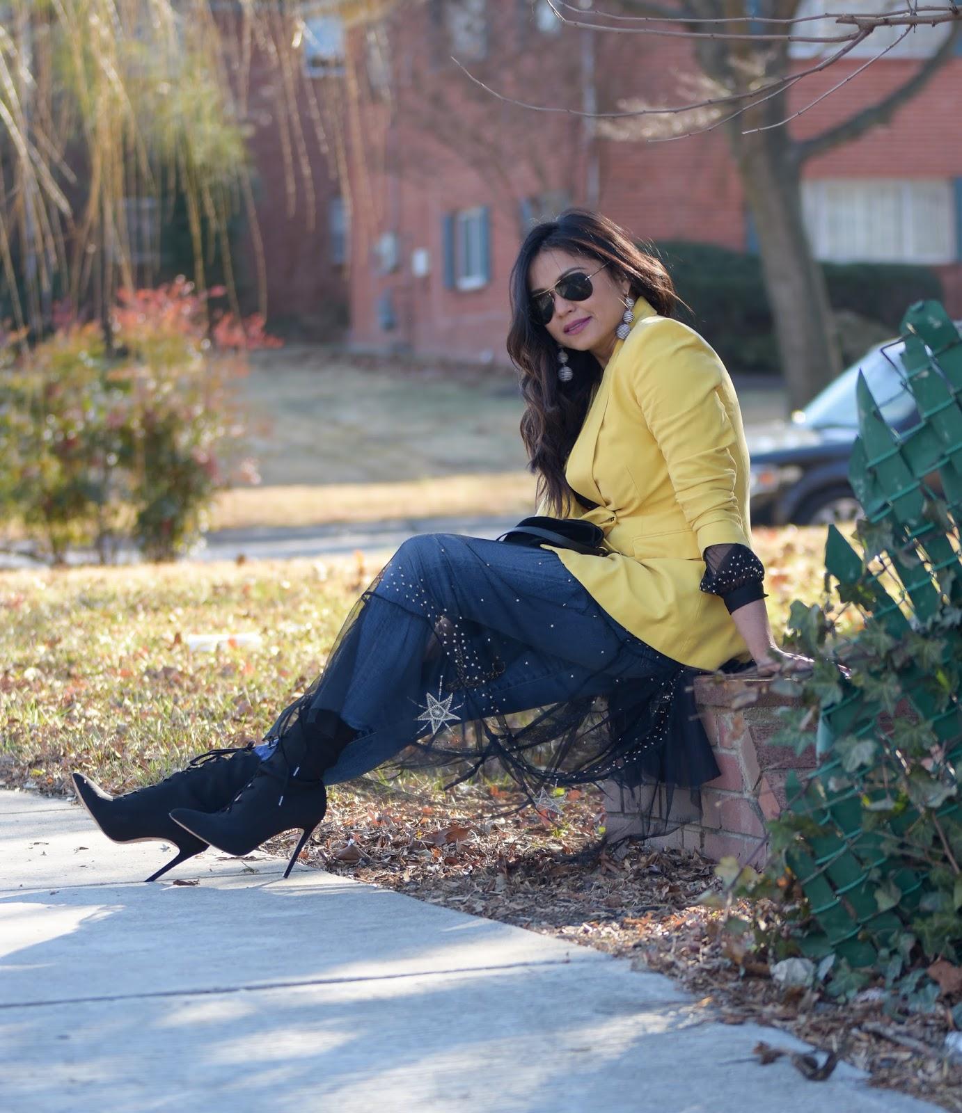 how to wear dress over jeans, mesh dress, yellow double breasted blazer, black booties, street chic, street style, black HM dress, zara blazer, ootd, myriad musings