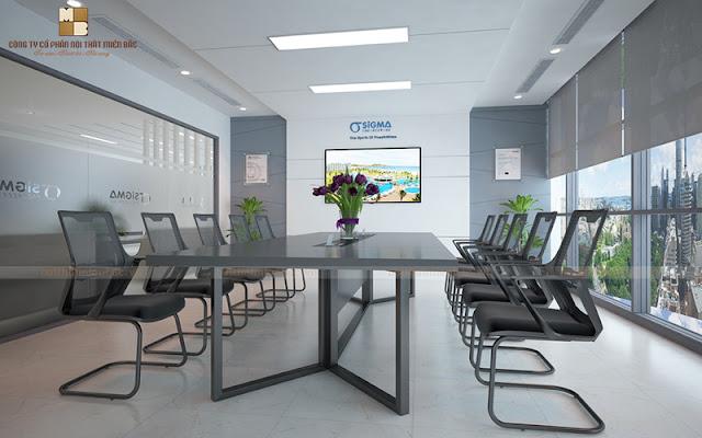 Thiết kế nội thất phòng họp này được thiết kế theo kết cấu không gian mở nên tạo cảm giác thoải mái và thông thoáng cho mọi cuộc họp