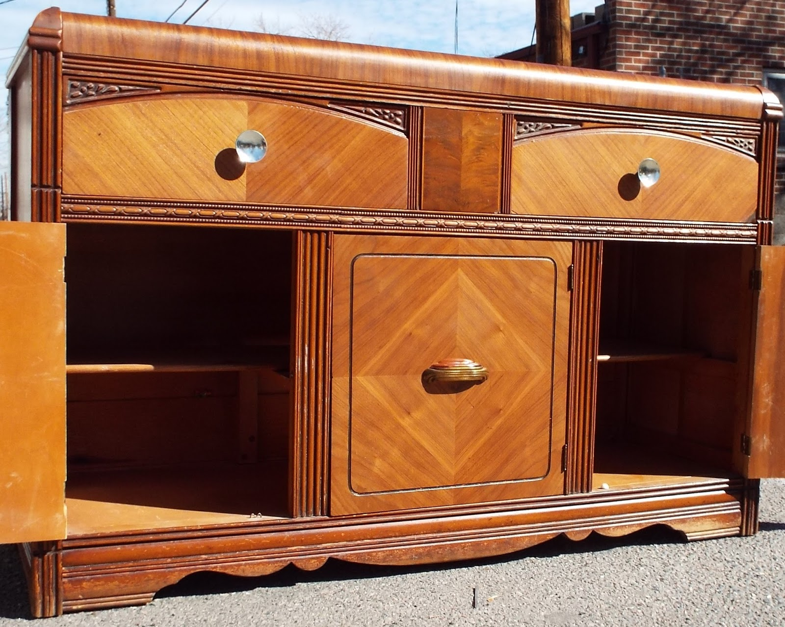 Boho chic antique waterfall buffet credenza sold for Sideboard 2 m breit
