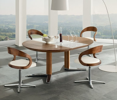 Modern+Dining+Room+Sets-Walnut+Wood