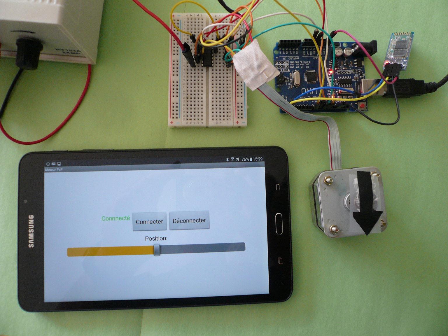 lectronique en amateur appli android pour contr ler un moteur pas pas par bluetooth arduino. Black Bedroom Furniture Sets. Home Design Ideas