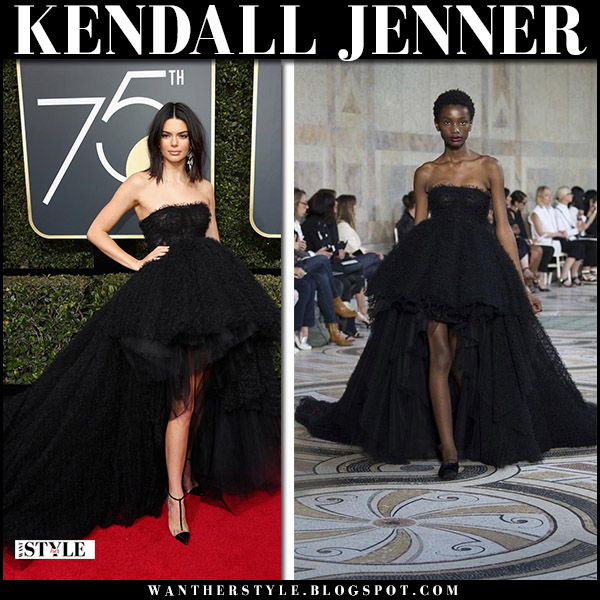 Kendall Jenner in black strapless gown giambattista valli golden globes 2018 fashion