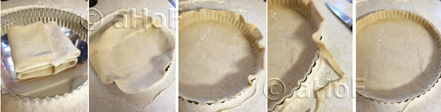 Fitting pastry into tart pan