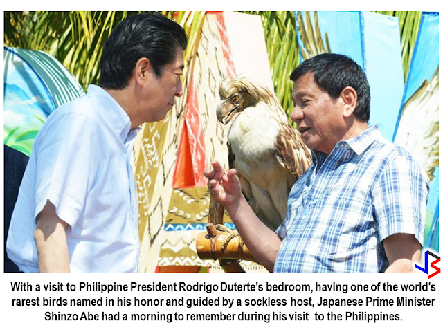 "Being the first head of state to visit the Philippines this year and the first during President Rodrigo Duterte's term, Prime Minister Shinzo Abe said ""I chose the Philippines as my first destination this year and that is testament to my primary emphasis on our bilateral relationship."" Unlike the other head of states that visited the country, Prime Minister Shinzo Abe has been treated with utmost closeness, not only as a fellow leader but a special friend, President Rodrigo Duterte offered the simplicity of his humble residence in Davao instead of the elegance of Malacañang Palace. Shortly after the Japanese Prime Minister  has been welcomed by the Philippine President at the Malacañang, they immediately went to the President's hometown, Davao City. Abe's day began with a visit to Duterte's ""simple home"" for a breakfast of sticky rice cakes and mung bean soup, a presidential aide said, with the leaders dining at a wooden table before heading for a look around Duterte's humble home. Christopher Bong Go also posted some photos showing the Prime Minister around President duterte's residence including his bedroom and the president's famous ""kulambo"" (mosquito net).     Japan Prime Minister Shinzo Abe at the house of President Rodrigo Duterte in Davao.       President Duterte and PM Shinzo Abe's closeness has been evident even during the ASEAN Summit and President Duterte's visit in Tokyo, Japan.                      Prime Minister Shinzo Abe having a taste of Durian.     Here is a video of Japanese Prime Minister Shinzo Abe during his visit to the Philippines as shared by the Prime Minister's official social media page. The caption reads: ""Davao is the hometown of President Duterte, where he devoted nearly 40 years to its development. My wife and I were invited to visit his house for breakfast, and we spent a relaxing time together.  I found Davao to be a city in which friendly feelings towards Japan are especially strong. At the international school established to educate ethnic Japanese Filipinos, I was moved by the warm welcome from children singing ""Chiisana Sekai""(It's a Small World) in Japanese. The Japanese language class I attended was taught by a teacher with a great sense of humor, and the students were having fun learning Japanese.""            Aside from strengthening ties among two countries and elevating bilateral relationship, the two leaders has shown the true meaning of friendship.     ©2017 THOUGHTSKOTO"