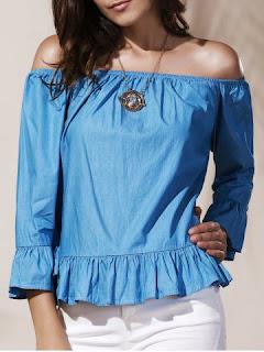 blusa celeste