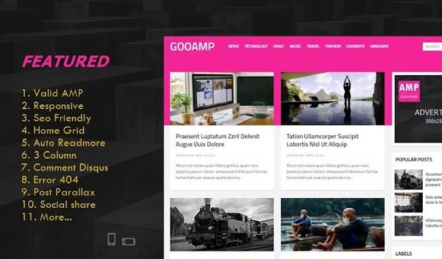 Gooamp Valid AMP Responsive Blogger Template