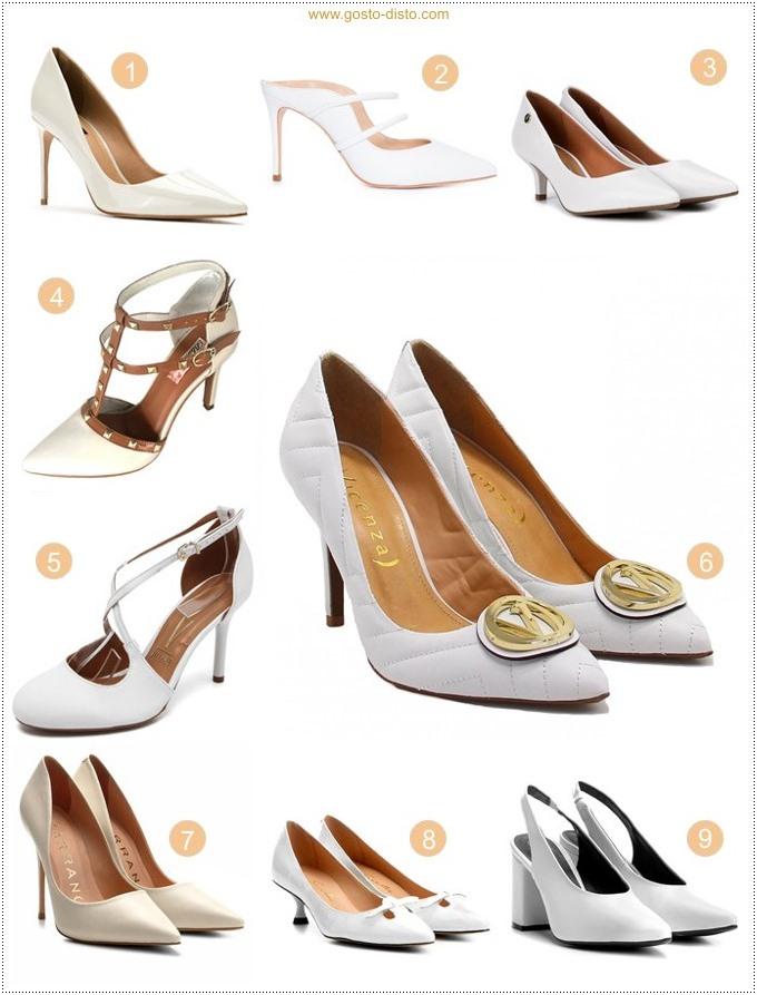 Modelos de sapatos ou scarpins brancos