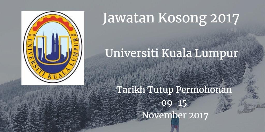 Jawatan Kosong UniKL 09 - 15 Disember 2017