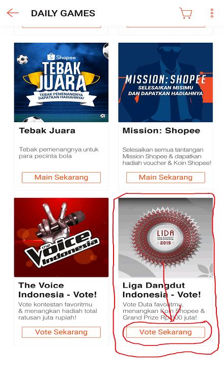Daily Games Shopee Liga Dangdut Indonesia - Vote!