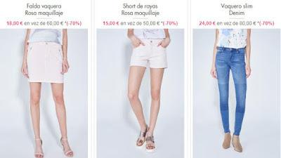 faldas, shorts y vaqueros