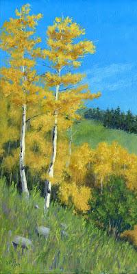 landscape painting nature mountain autumn fall aspen tree